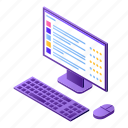 business, cartoon, computer, hand, isometric, pc, silhouette icon