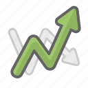 arrow, chart, data, growth, line, line chart, statistics icon