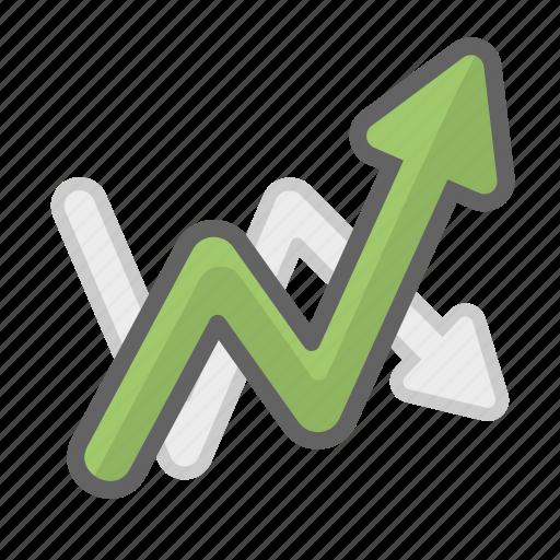 arrow, chart, data, growth, line, line chart, statistics icon