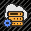 cloud, computing, data, database, management, network, setting, storage icon