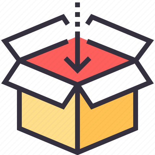 arrow, box, container, content, download, package, product icon