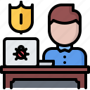 hacker, network, protection, security, system, tester icon