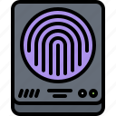 fingerprint, hacker, network, protection, scanner, security icon