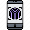 fingerprint, hacker, network, phone, protection, security icon