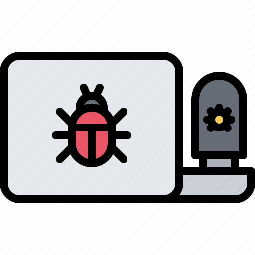bug, hacker, laptop, network, protection, security, virus icon