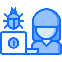 bug, hacker, laptop, network, protection, security icon