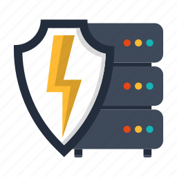 backup, database, power, secured, security, server, shield icon