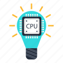 bulb, cpu, data, idea, processing, processor, solution icon