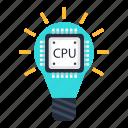 bulb, cpu, data, idea, processing, processor, solution icon