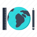 global, infrastructure, pencil, plan, planet, ruler, world icon