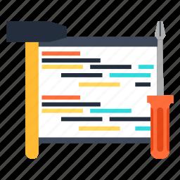 code, coding, engineering, hammer, programming, screwdriver icon
