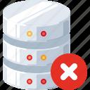 block, close, data, database, delete, remove, server icon