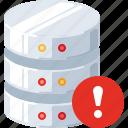 alert, data, database, error, server, technology, warning icon