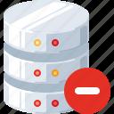 data, database, delete, minus, remove, server, technology icon