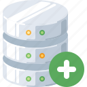 add, plus, new, data, database, create, server icon