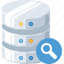 data, database, find, magnifier, search, server, technology icon
