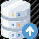 arrow, data, database, server, technology, up, upload icon