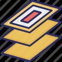 copy sign, data storage, copy data, copy, layers icon