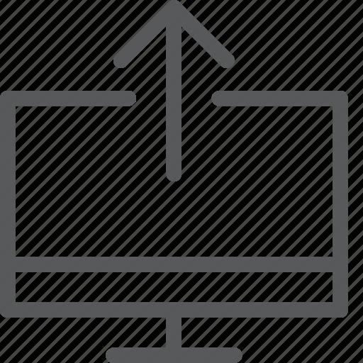 computer, data, imac, screen, send, transfer, upload icon