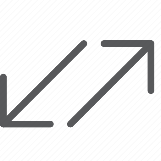arrow, connect, data, diagonal, share, traffic, transfer icon