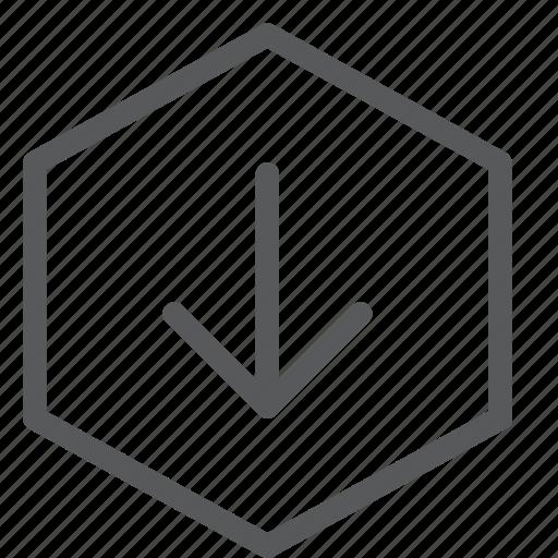 arrow, data, down, download, hexagon, import, save, transfer icon