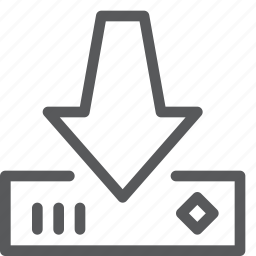 arrow, data, down, download, harddrive, import, save, transfer icon