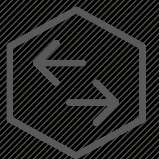 arrow, connect, data, hexagon, horizontal, share, transfer icon