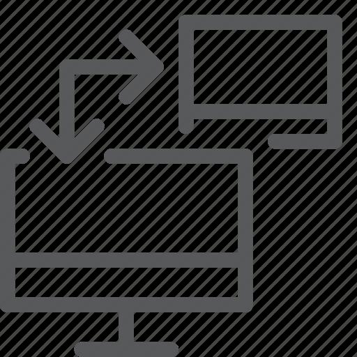 arrow, computer, connect, data, network, screen, transfer icon