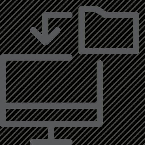archive, arrow, data, folder, screen, transfer icon