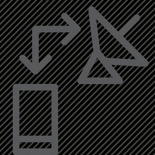 arrow, mobile, phone, radar, satellite, smart, transfer icon
