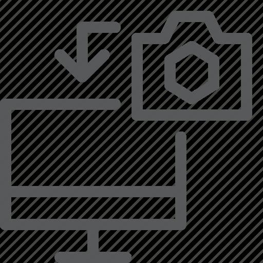camera, data, media, picture, screen, transfer icon