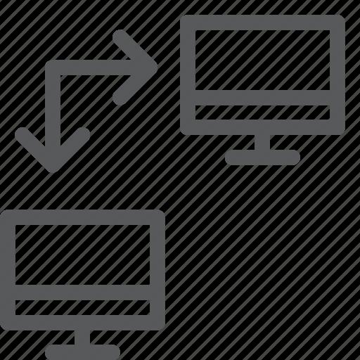 computer, data, imac, personal, screen, transfer icon