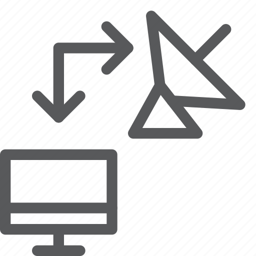data, imac, radar, satellite, screen, transfer icon