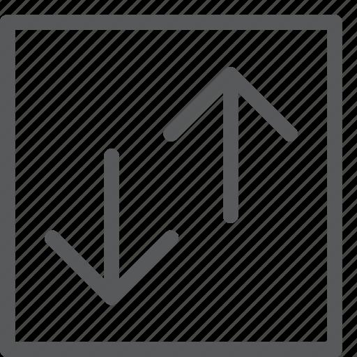 data, download, square, traffic, trasfer, upload, vertical icon