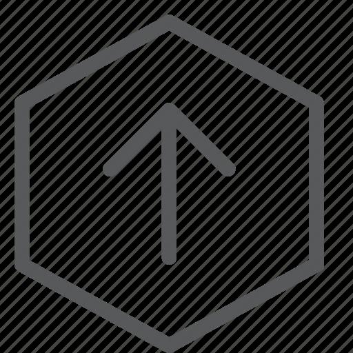 arrow, data, hexagon, send, share, transfer, up, upload icon