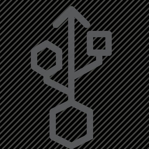 data transfer, hub, input, sharing, storage, usb icon