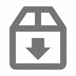 arrow, box, direction, down, download, navigation, receive, save icon