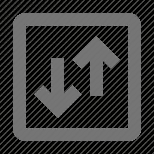 arrows, data, direction, download, send, square, transfer, upload icon