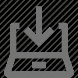 arrow, direction, down, download, laptop, navigation, receive, save icon