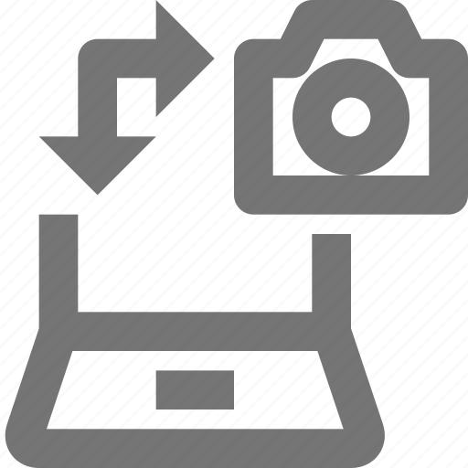 arrow, camera, data, laptop, receive, save, send, transfer icon