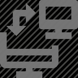 arrow, computer, data transfer, transfer icon