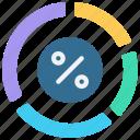 broken, circle, pie, split, multiple icon