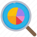 research, pie, chart, loupe icon