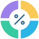 separated, four, pie, chart, piechart icon