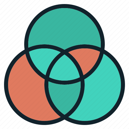 circle, data, diagram, group, intersection, venn icon