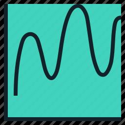 chart, data, graph, visualization, wave icon