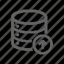 arrow, database, server, up, upload