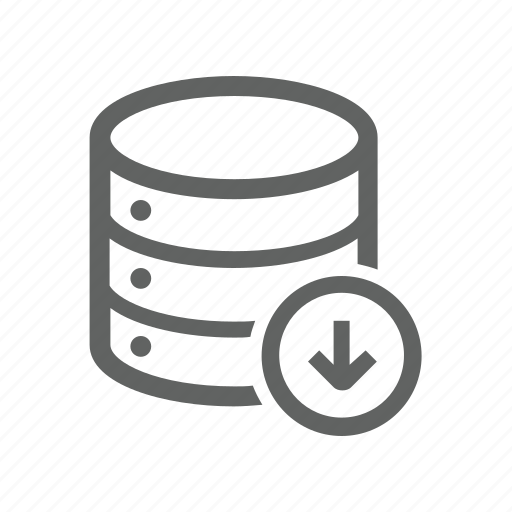 arrow, database, down, download, server icon