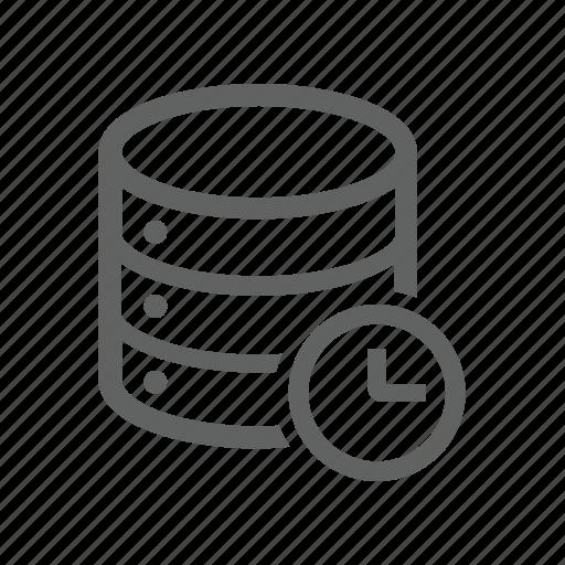 clock, database, delay, later, server icon