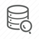 database, magnify, magnify glass, search, server icon